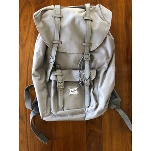 Herschel Grey Backpack with Red Stripe Lining